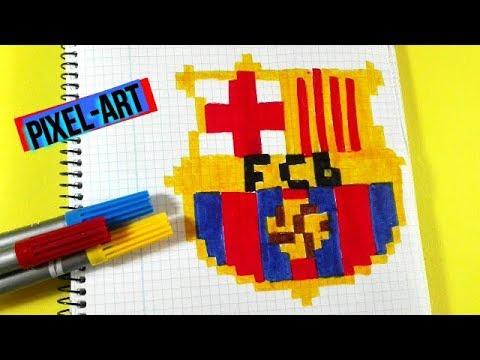 Como Dibujar Escudo Fc Barcelona Pixel Art