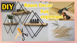 Diy Room Decor #part1 🎨 || Rak Segiempat Dari Sumpit Bambu