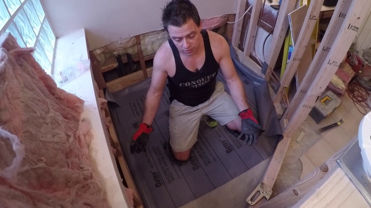how to install a shower pan liner