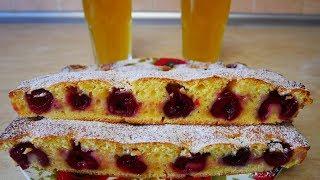 Быстрый рецепт вкусного творожного ПИРОГА с черешней ПРОСТОЙ рецепт домашнего лимонада