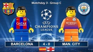 Barcelona vs Manchester City 4-0 • Champions League 2017 (19/10/2016) goal highlights Lego Football