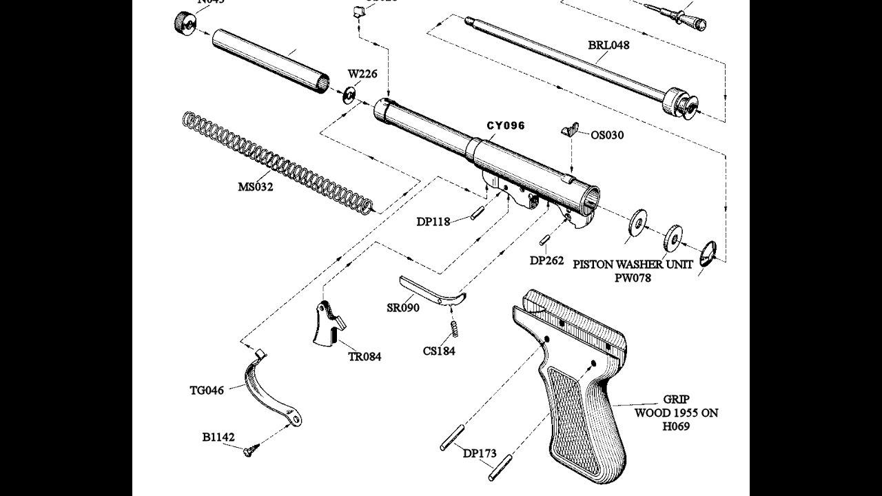 hight resolution of vintage diana model 2 air pistol in 177
