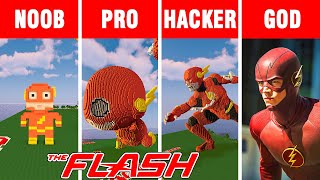 Minecraft NOOB vs PRO vs HACKER vs GOD: SUPERHERO FLASH  BUILD CHALLENGE in Minecraft