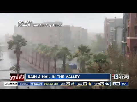 Rain and hail in Las Vegas valley