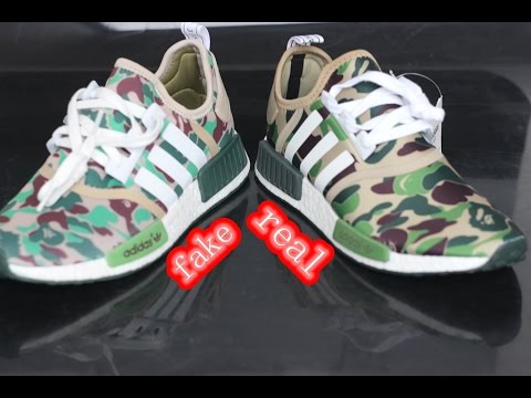 Comparison Review: Bape X Adidas NMD Camo Green Real VS. Fake Unboxing