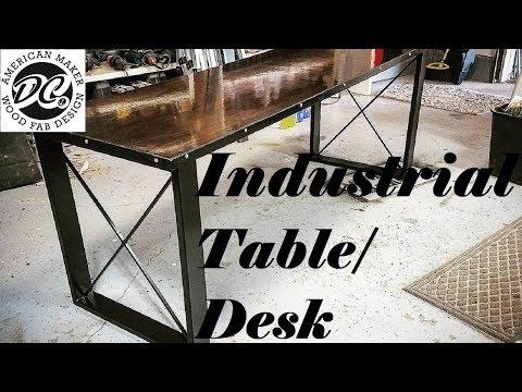 DC. INDUSTRIAL STEEL TABLE/DESK. WALNUT TOP.
