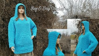 How To Crochet - CROCHET HOODIE Plus Sized/Oversized Hooded Sweatshirt BAGOAY Crochet Tutorial #466