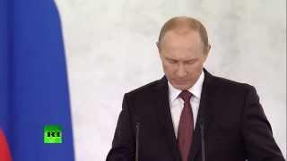 Путин: Крым передали из рук в руки, как мешок картошки(Во время выступления в Кремле перед депутатами Госдумы, членами Совета Федерации, руководителями регионов..., 2014-03-18T12:14:16.000Z)