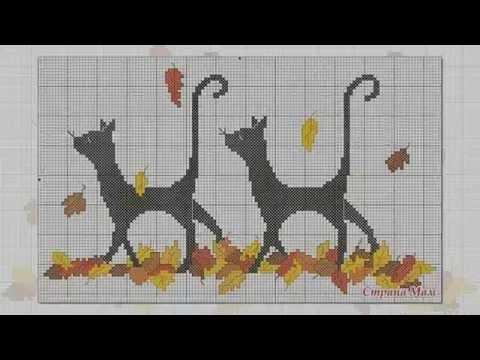 Жаккардовый узор спицами кошки