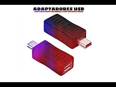 Video de Adaptador micro USB hembra a mini USB macho  Negro