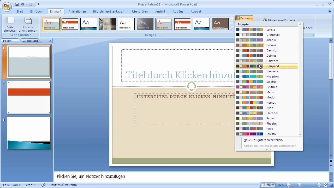 Powerpoint 2007 - Designvorlagen und -farben nutzen - YouTube