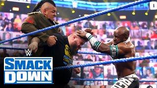 Big E, Sami Zayn and Kevin Owens derail Apollo Crews' Medal Ceremony: SmackDown, May 14, 2021