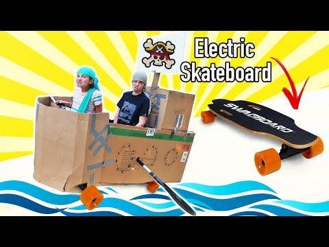 Giant Cardboard Box Pirate Ship Using Electric Skateboard | Kids Pirate Face Paint