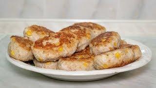 Котлеты из куриного фарша пошаговый рецепт с сочной начинкой и консервированной кукурузой