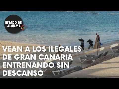 Los ILEGALES invasores de GRAN CANARIA no dejan de ENTRENAR en el puente