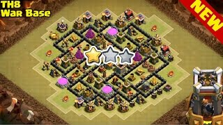 Clash of Clans Th8 War Base  ♦ BOMB TOWER ANTi 2 Star ♦ Defense Replay
