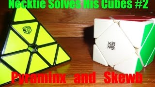 necktie solves his rubiks cubes 2 pyraminx and skewb