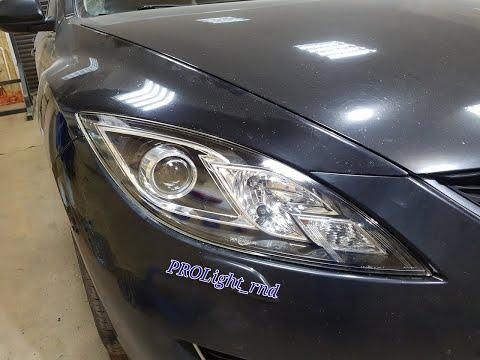 Mazda 6 замена линз на биксеноновые линзы Hella 3R Premium и скрытая установка ксенона.