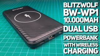 BlitzWolf BW-WP1 10.000mAh dual USB powerbank with wireless charging on the bench Mp3