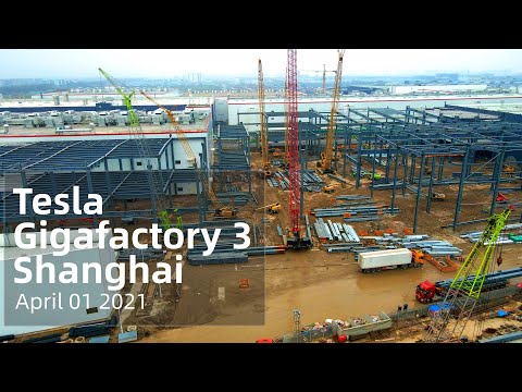 (April 01 2021)  Tesla Gigafactory 3 Shanghai 4K Video