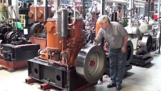 Startup and running of a 1929 Kromhout M1 hot bulb engine.