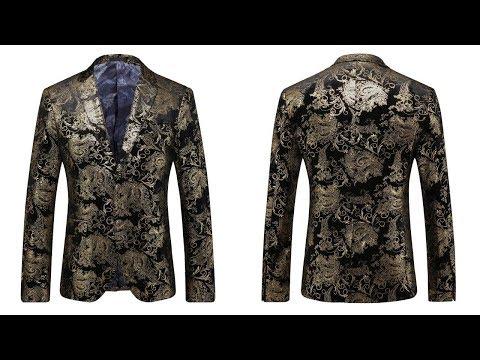 Gold Printed Blazer - Men Floral Casual Blazer New Arrival Fashion Men's Blazer