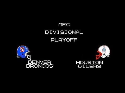 Tecmo Super Bowl - Broncos vs Oilers - 1991 AFC Divisional