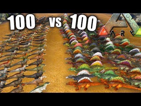 ARK 100 YUTYRANNUS vs 100 SPINOSAURUS   yuty vs spino Ark survival evolved DINO BATALLAS