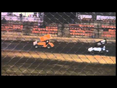 Rick Forbis driving the #28 sprint car in the STS Mechanics race @ Ark-La-Tex Speedway.