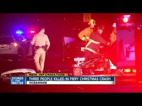 Three people killed in fiery Christmas Day crash in Oceanside