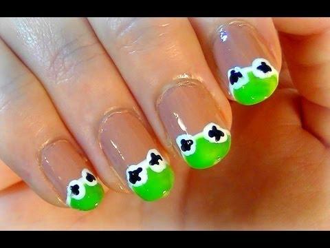 kermit the frog nail art simple nail polish art for short kermit the frog nail art simple nail polish art for short nails prinsesfo Images