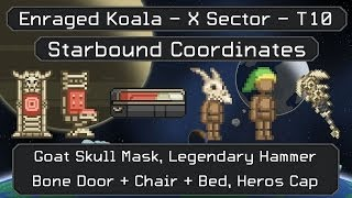 Starbound Coordinates [X][T10]: Goat Skull Mask, Bone Door + Bed + Chair, Heros Cap