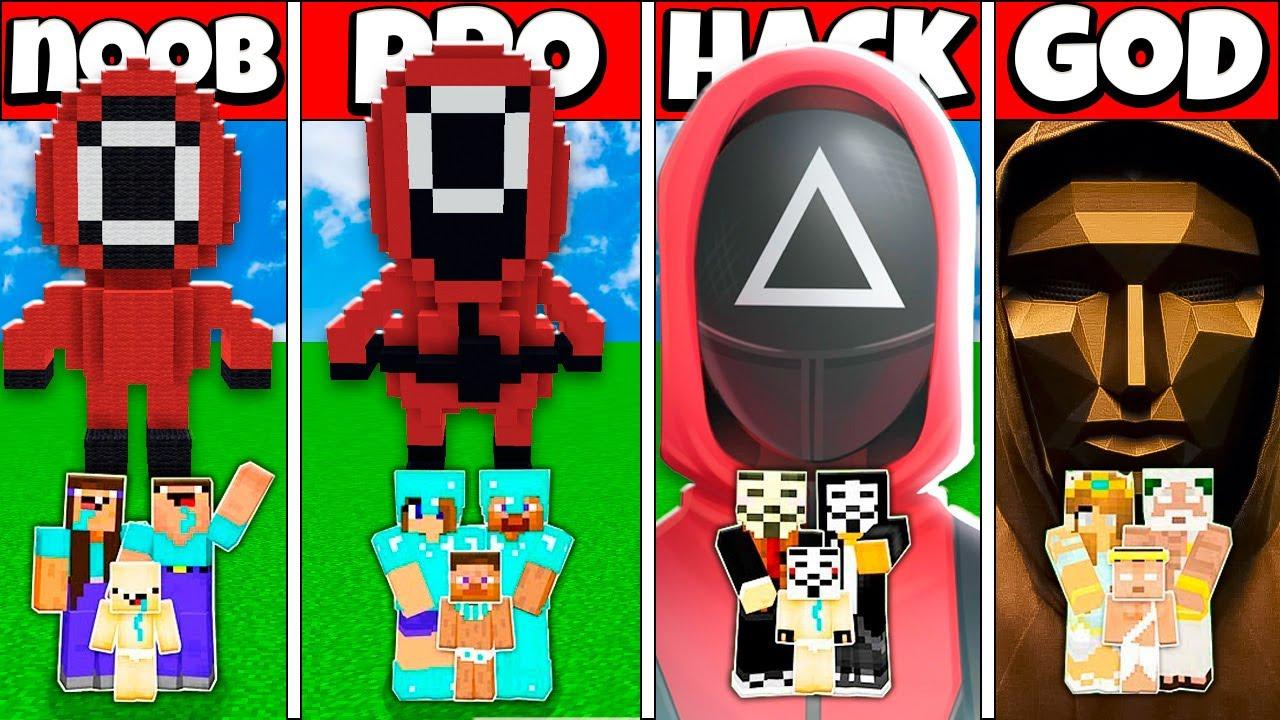 SQUID GAME STATUE BUILD CHALLENGE - NOOB vs PRO vs HACKER vs GOD Minecraft Animation