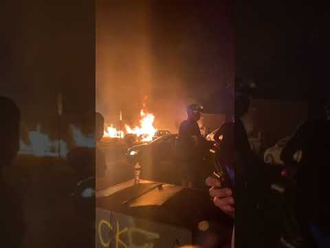 Journalists record live video of aug. 25 arson fires in kenosha, wisconsin