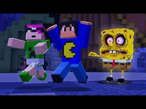 Minecraft: BOB ESPONJA DO MAL NOS PEGOU Pac e Mike