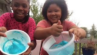 how to make slime super easy blue slime kid fun deidra amd deja daily