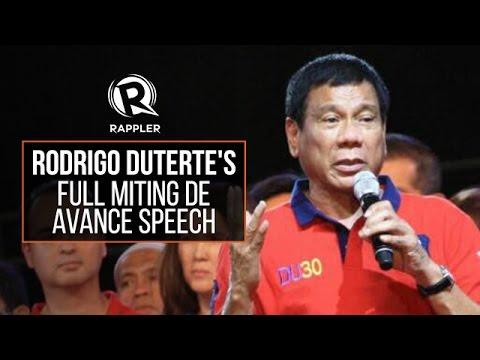 FULL SPEECH: Rodrigo Duterte's speech during his miting de avance