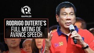Download lagu FULL SPEECH: Rodrigo Duterte's speech during his miting de avance