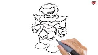 robot easy drawing draw step drawings paintingvalley