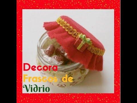 Diy como decorar frascos de vidrio para navidad youtube for Frascos decorados para navidad