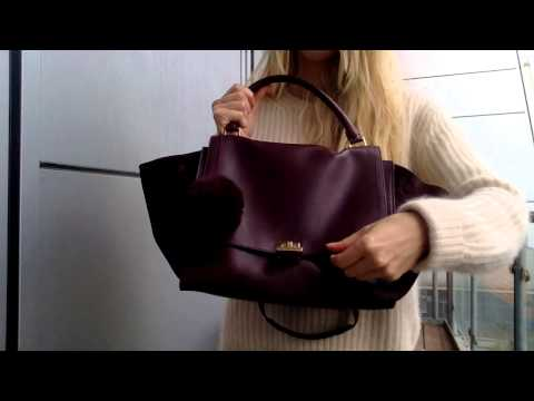 CELINE Burgundy Python Handle Trapeze Bag la_bonita03 - YouTube