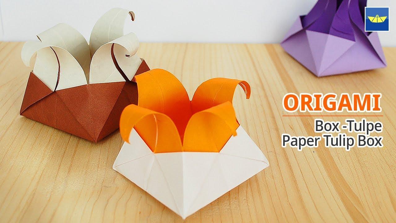 Diy Box Origami Schachtel Tulpe 튤립 상자 종이접기 Basteln Mit Papier Basteln Mit Kindern Bastelideen