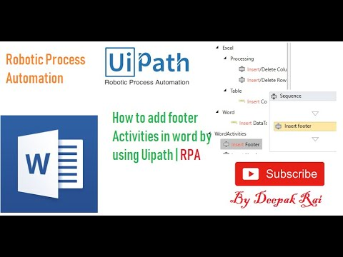 How to Add Footer Activities in word by using Uipath | RPA