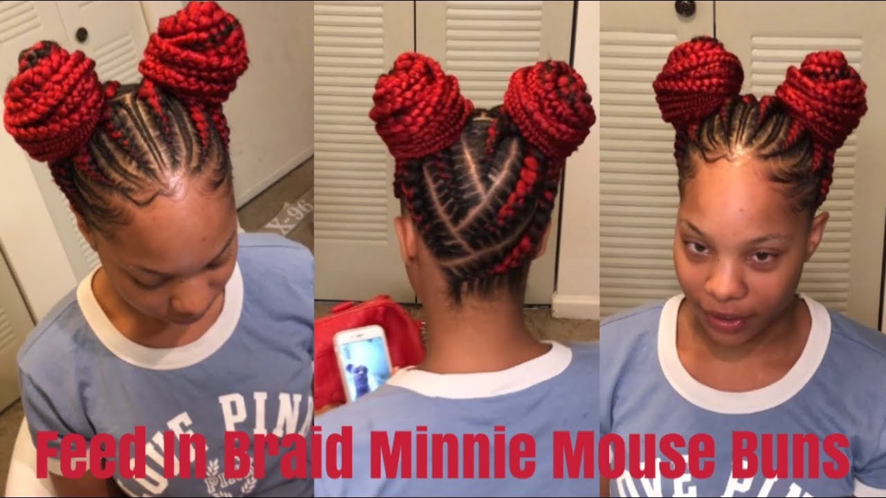 Minnie Mouse Buns Feed In Braids Youtube