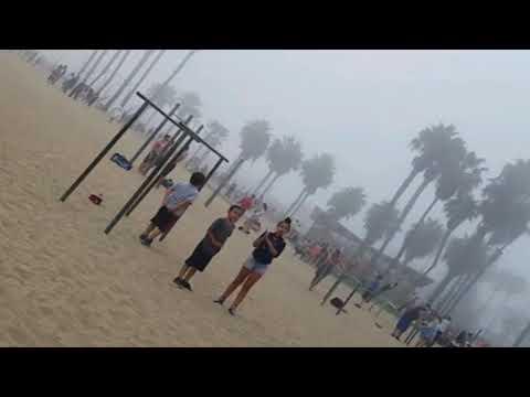 Flying & Spinning on Traveling Rings - Rear POV - Santa Monica Beach - Beautiful Foggy Day
