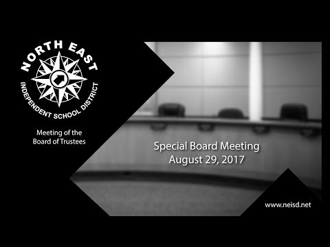 August 29, 2017 - Special Board Meeting