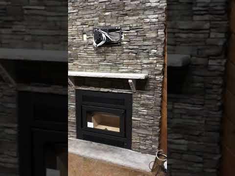 Beau Kozy Z42 Fireplace With Eldorado Nantucket Stacked Stone With Kingdom  Products Regal Gloss Sealer