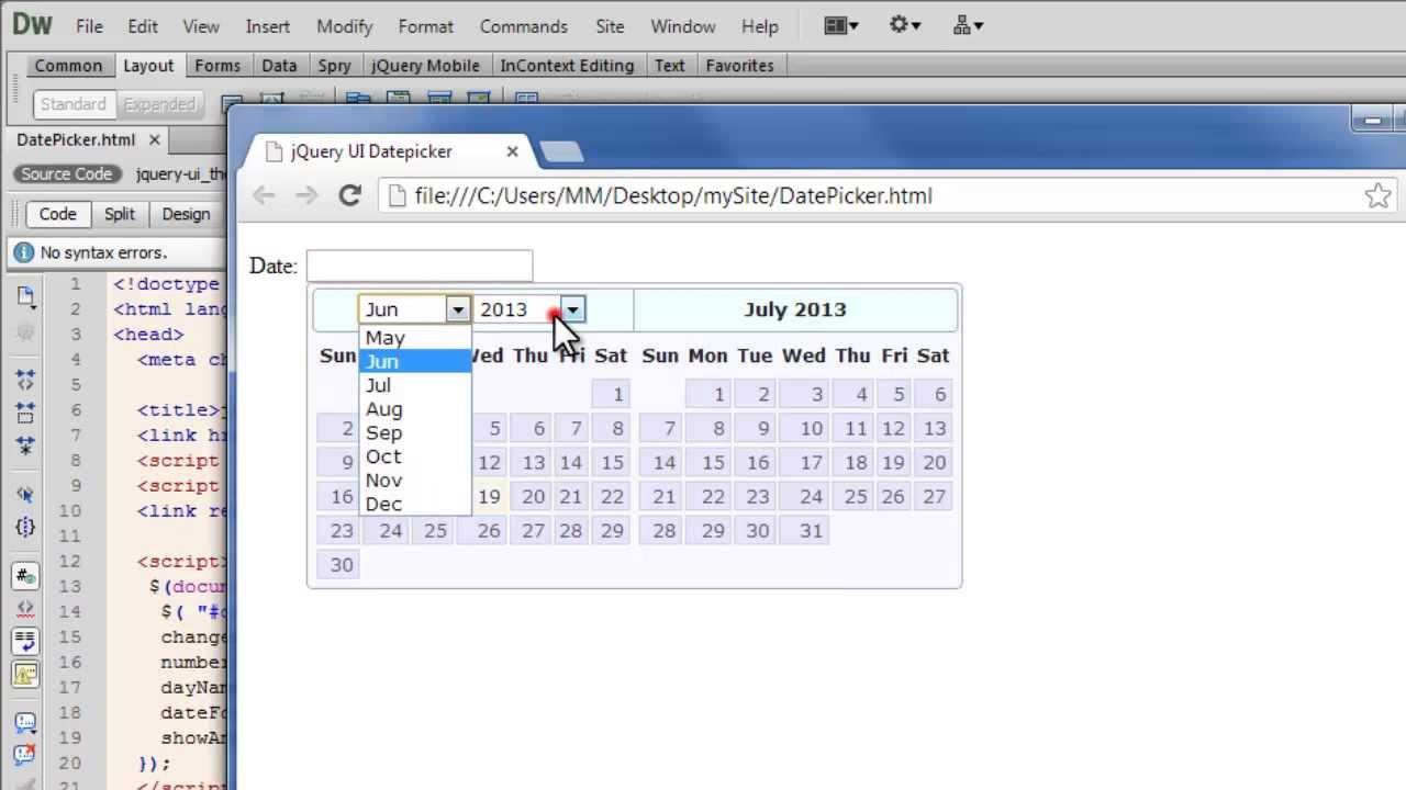 Dreamweaver Tutorial: JQuery UI datePicker widget