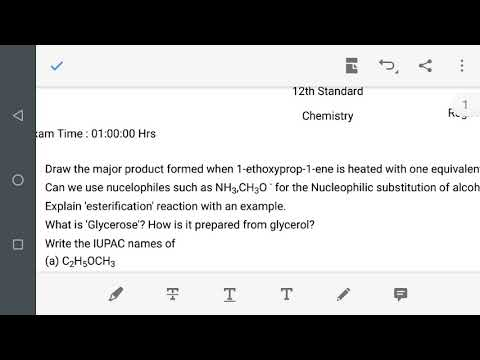 12th chemistry  1 hour test Hydroxy Compounds and Ethers