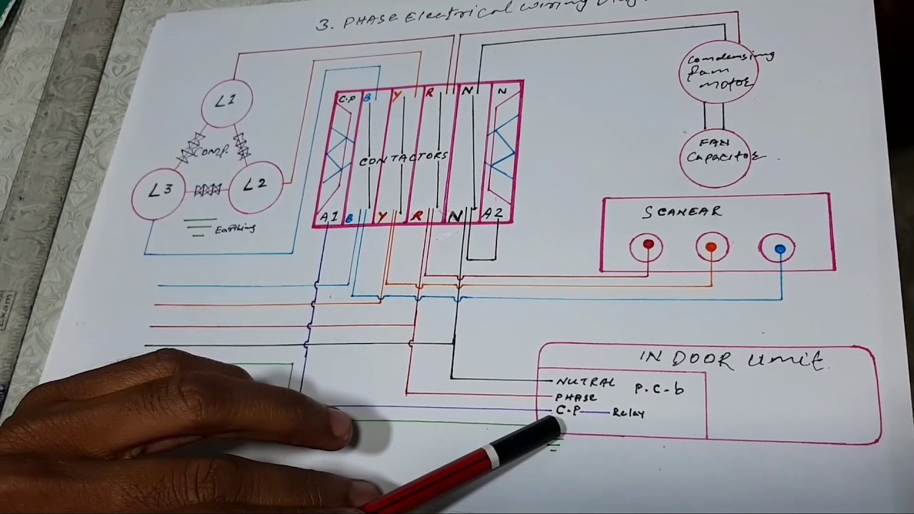 3 phase ac electrical wiring diagrams three phase air conditioner wiring diagram youtube  three phase air conditioner wiring